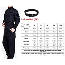 H World Shopping Men Tactical BDU Combat Uniform Jacket Shirt & Pants Suit Typhon Kryptek for Army Military Airsoft Paintball Hunting Shooting War Game Black