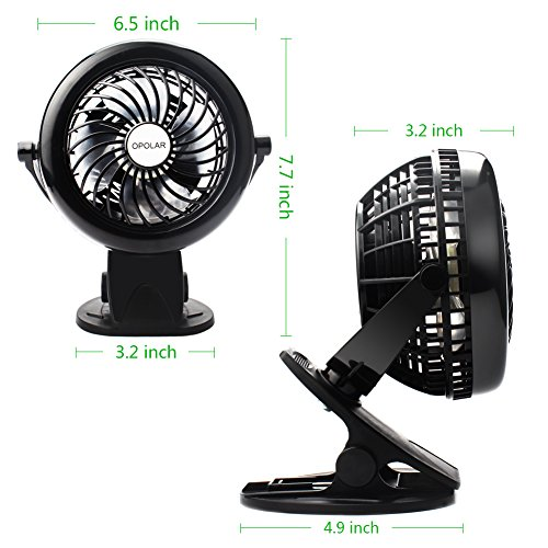 OPOLAR Battery Clip on Fan, Powered by USB or 2200mAh Rechargeable Battery, 360 Adjustable Wind, Personal Clip or Desk Fan with 3 Speeds, Multi Versatile for Office, Car, Baby Stroller and Outdoor by OPOLAR (Image #6)