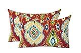 Set of 2 – Indoor / Outdoor Rectangle / Lumbar Decorative Throw / Toss Pillows ~ Losani Pompeii Red, Teal, Yellow, Orange, Green Ikat For Sale