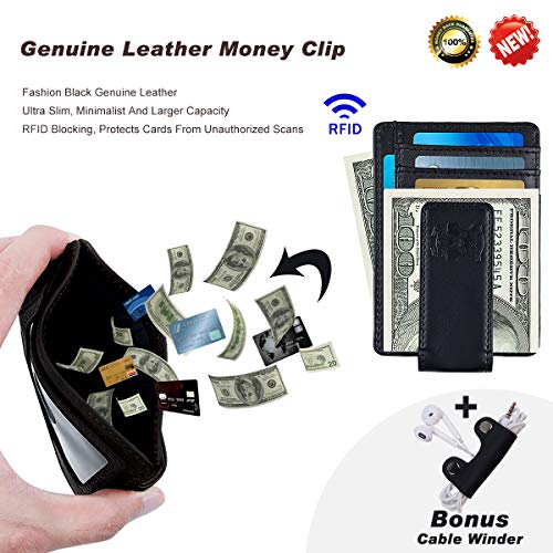 (Mens Money Clip Wallet Leather Slim Front Pocket Magnetic RFID Money Clip Wallet (black))