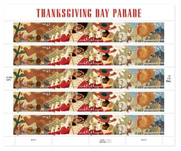 Thanksgiving Day Parade Sheet of 20 x 44-Cent Stamps, U.S. 2009, Scott 4417-4420 (The Thanksgiving Day Parade)