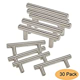kitchen cabinet bar knobs Gobrico Stainless Steel T Bar Door Handles 64mm(2.5in) Euro Style Kitchen Cabinet Drawer Pulls Knobs 4in Length 30Pack