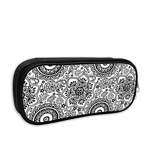 Black and White Seamless Henna Doodle Pattern_1713 Big Capacity Pencil Pen Case Bag Holder Desk Pen Pencil Marker Stationery Organizer Pencil Pouch with Zipper for School & Office ()