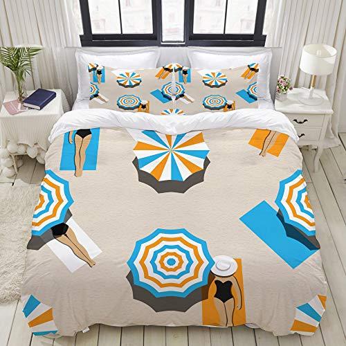 MIGAGA Duvet Cover Set, Seamless Vector Pattern Bird Eye View, Decorative 3 Piece Bedding Set with 2 Pillow Shams (Eye Bed View Birds)