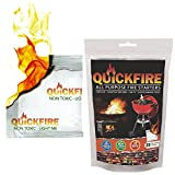 QuickFire - FireStarters Voted #1 Camping & Charcoal BBQ Fire Starter. Burns up to 10 Min at over 750° - 100% Waterproof, Odorless And Non-Toxic