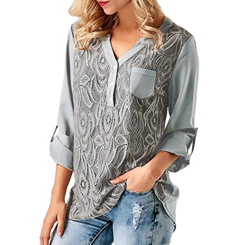 Rambling New Womens Casual Loose Solid Cuffed Sleeve T-Shirt Lace Panel Blouses Tops S-XXXL by Rambling