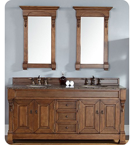72 in. Double Cabinet in Country Oak Finish (Carved Double Sink Vanity)