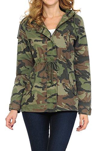 Women's Versatile Military Safari Utility Anorak Street Fashion Hoodie Jacket Green Camo Small
