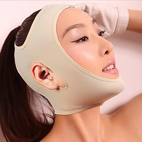 Geoot Wrinkle Face Slimming Cheek Mask Smooth Breathable Compression Chin Strap With Medium Neck Support Lift V Face Line Slim Up Belt Strap (L) (Khaki) -