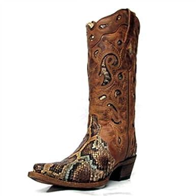 1147f451fca51 Corral Women's Python Inlay Fashion Square Toe Boots