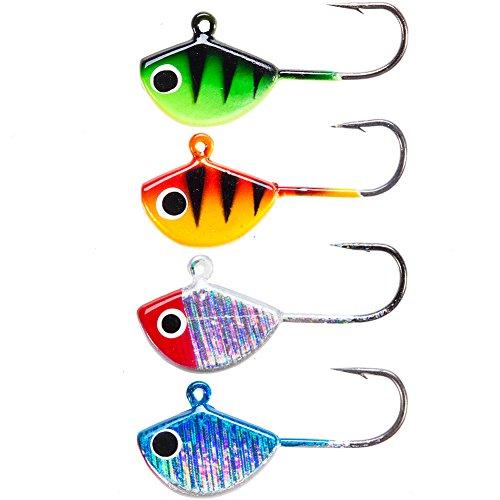 Seanlure Glow Back Fry Jig Kit 4pcs 2.5cm 2.3g Ice Fishing Lure Swimbaits Bait Ice Jig Tackle Unbalanced