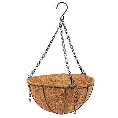 Hanging Flower Basket Coconut Coir Husk Flower Pot - Decorative Iron Basket Flower Planter Indoor Outdoor Hanging Plant Pot Flower Holder, 10 x 10 x 5.1 inches: Garden & Outdoor