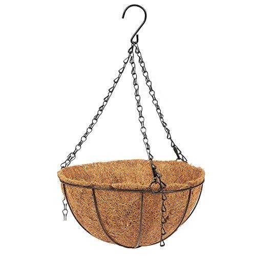 (Hanging Flower Basket Coconut Coir Husk Flower Pot - Decorative Iron Basket Flower Planter Indoor Outdoor Hanging Plant Pot Flower Holder, 10 x 10 x 5.1 inches)