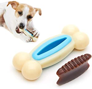 Dog Toys for Aggressive Chewers, SmoonS 2 in 1 Pet Toy with Unique Natural Cowhide Taste [ Durable ][ Healthful ] for Medium & Large Dogs (Bone L 2.0x5.9x2.0)