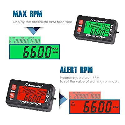 Runleader Hour Meter Tachometer, Maintenance Reminder, Alert RPM Reminder, Initial hours Settable, Battery replaceable, Use for Lawn Mower Generator Marine ATV and Gas Powered Equipment (HM058B-RD): Automotive