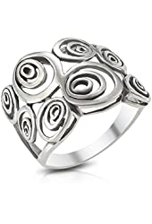MIMI Sterling Silver Wide Geometric Spiral Swirl Ring