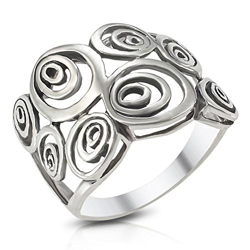 Tone Ring Swirl - Sterling Silver Wide Geometric Spiral Swirl Ring - Size 6