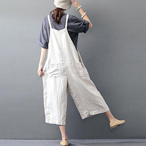 Ample Jumpsuit Large Salopette Harem NINGSANJINFemme Automne Pantalon Coton Sarouel Combinaison Blanc Casual x4wqSwH