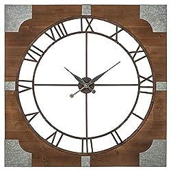 Ashley Furniture Signature Design - Palila Industrial Wall Clock - Casual - Brown/Silver Finish