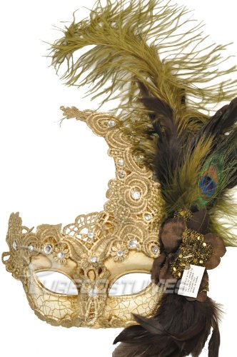 Venetian Feather - Beige Lace Venetian Mask with Feathers