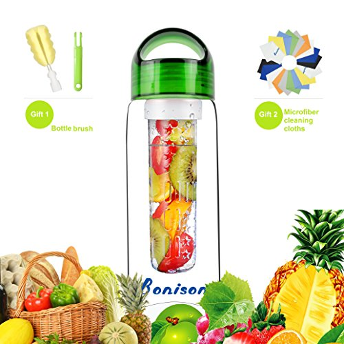 Bonison Sporty Tritan fruit infuser water bottle,Leak Proof ,Trendy Durable with Handle for fruit,Juice, Iced Tea, Lemonade & Sparkling Beverages (23 Oz) (700T-GREEN)