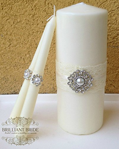 Ivory Unity candles wedding colors - Pearl and rhinestone diamonds. white unity candle set with lace and bling, set of three unity candles wedding candles - Lace Unity Candle