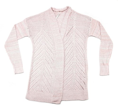 (Leo & Nicole Womens Marled Rib Trim Pointelle Cardigan (X-Medium, Velvet Blush Marl))