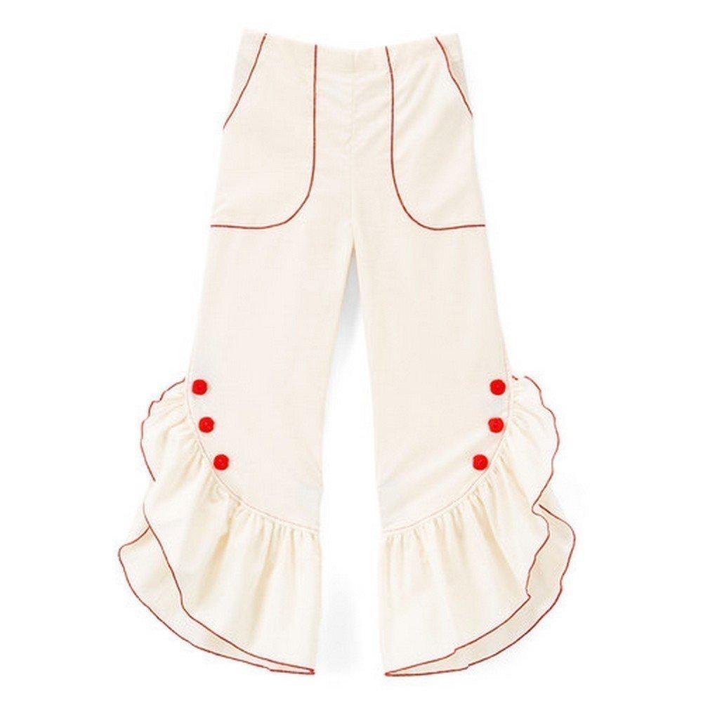 Little Miss Fashion Big Girls Ivory Red Ruffled Trim Button Detail Cotton Pants 12