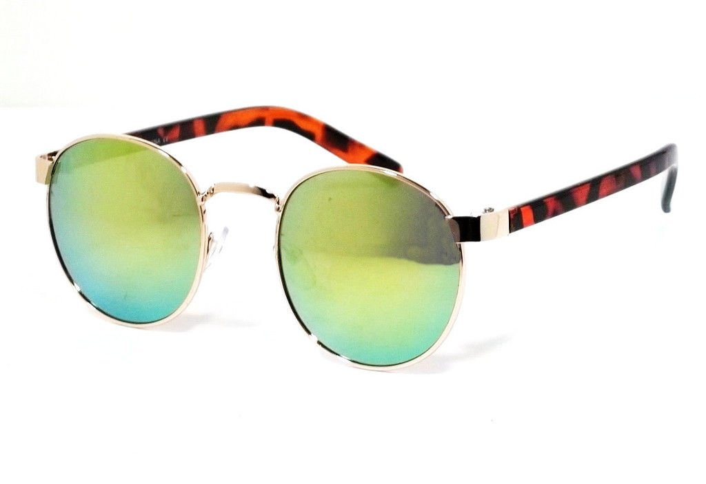 24549d13859 Amazon.com   Tortoise Feame Gold Fire Lens Classic Retro Aviator Elmhurst  Round Metal Frame Men Women Fashion Sunglasses   Garden   Outdoor