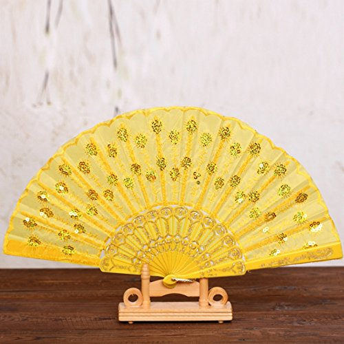 Yellow Chinese Japanese Women Foldable Folding Hand Fan Party Wedding Dance Accessories