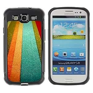 Híbridos estuche rígido plástico de protección con soporte para el SAMSUNG GALAXY S3 - textile texture orange pastel tones lines