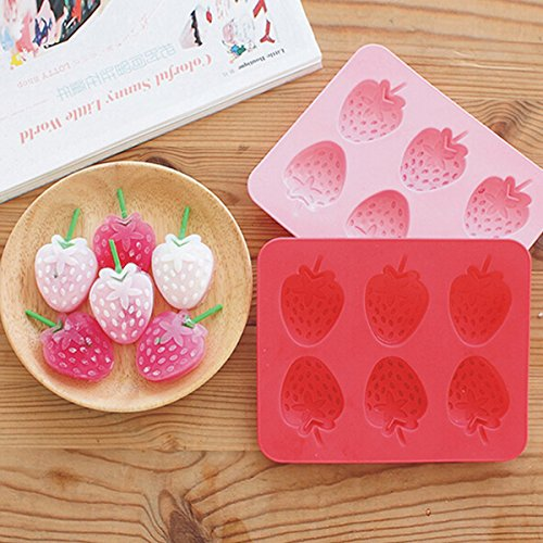 Bar Tools & Accessories - Silicone Strawberry Mold Cookie Cutter - 6 Cups Diy Tpr Material Strawberry Shape Ice Mould Silicone Ice Cube Tray Ice-Cream Mould - Chocolate Strawberry Maker - 1PCs