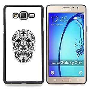 - White Black Skull Cross Christian Death - - Snap-On Rugged Hard Cover Case Funny HouseFOR Samsung Galaxy On7 G6000