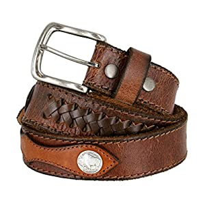 Fullerton Vintage Hand-Laced Genuine Full Grain Leather Belt with Coin Conchos (Brown, 44)