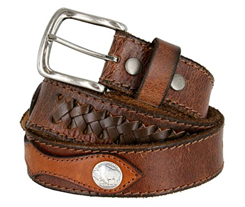 Fullerton Vintage Hand-Laced Genuine Full Grain Leather Belt with Coin Conchos (Brown, 34) ()