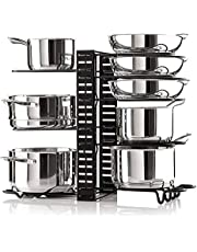 Cabinet Organizer - Adjustable Pot Rack Holds A Minimum of 8 Pots, Pans and Lids - 3 Different DIY Ways to Use The Pots and Pans Organizer Including On The Counter