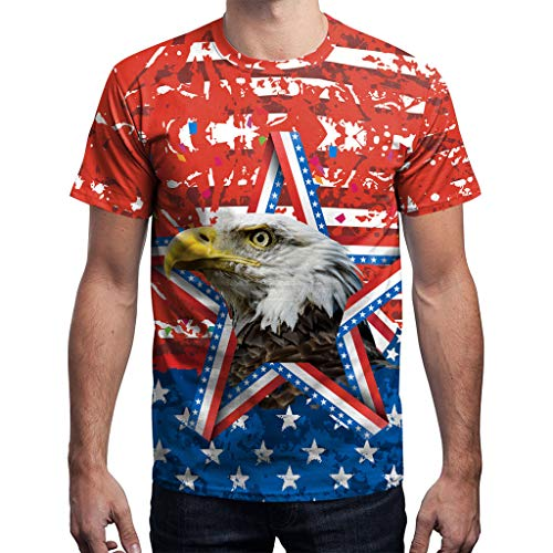 (JustWin Summer New USA Flag Sexy 3D Tee Print Striped Independence Day Casual Short Sleeve T-Shirt)