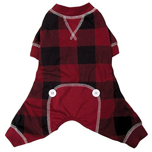 FouFou Dog 62663 Buffalo Plaid Pajamas for Dogs, Medium, Red