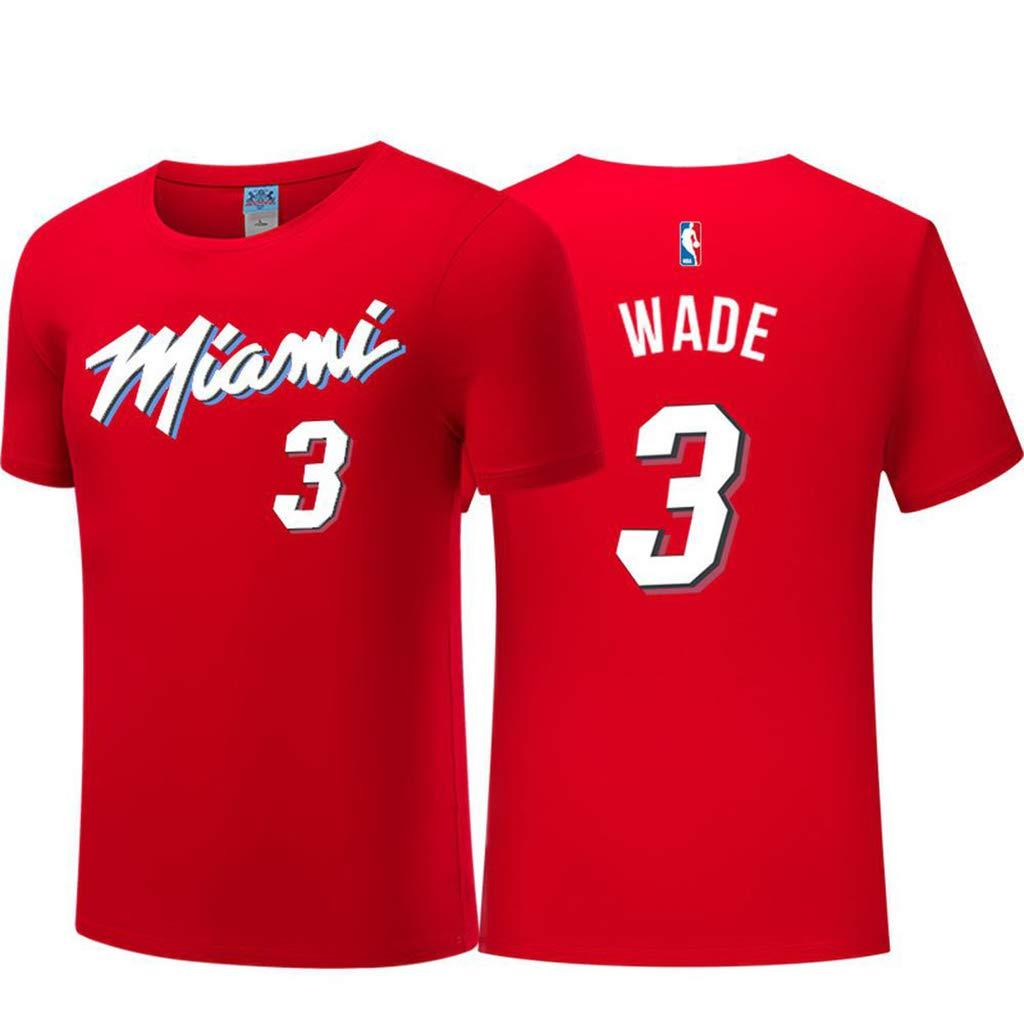 Camiseta para Hombre City Edition Wade # 3 Baloncesto Desgaste Top NBA Jerseys Miami Heat Fan T-Shirt Pink-S