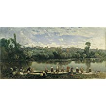 'Rico Y Ortega Martin Washerwomen At The Varenne River ' Oil Painting, 8 X 16 Inch / 20 X 41 Cm ,printed On Polyster Canvas ,this Best Price Art Decorative Canvas Prints Is Perfectly Suitalbe For Laundry Room Decor And Home Decoration And Gifts