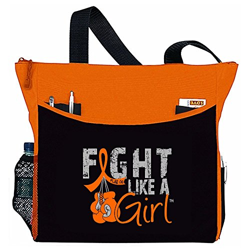 Fight Like a Girl Boxing Glove Tote BagDakota in Orange for Leukemia Kidney Cancer Multiple Sclerosis MS (Assorted Colors)