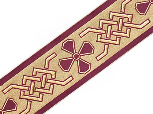 Trim Celtic Knot (Jacquard Trim Celtic Cross Vestment Sewing Burgundy on Gold 3¾