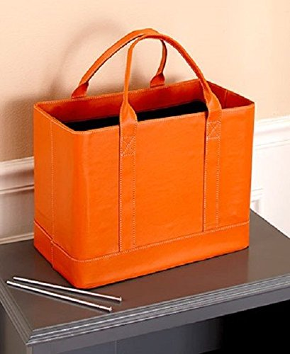 Orange Chic Portable File Folder Organizer Document Storage Bag Fashion Tote