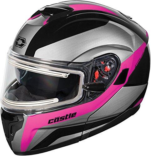 Castle X Atom SV Tarmac Electric Modular Snowmobile Helmet (MED, Pink) -