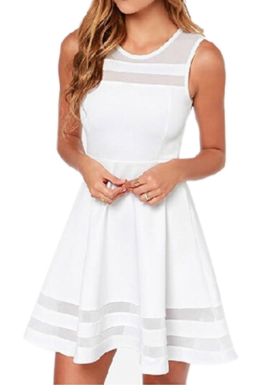 Girls mesh mosaics known sweet party dress sexy dress (White)