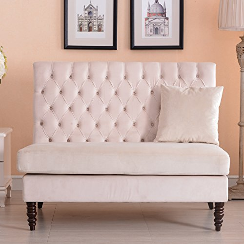 Belleze modern button tufted settee bedroom bench loveseat for Button tufted chaise settee velvet