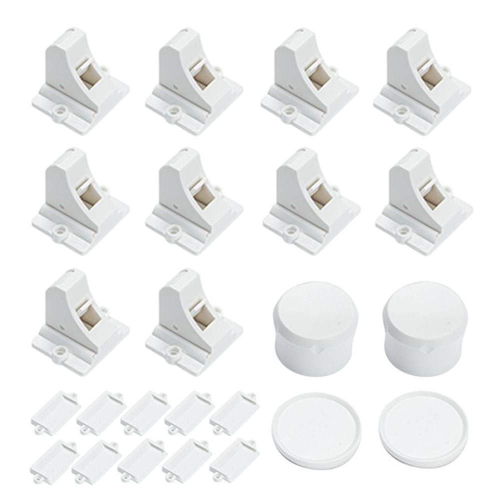 Baby Proofing Cabinet Magnetic Locks - Vkania 10 Locks 2 Keys Child Safety Cabinets Drawer Locks - Adhesive Magnet Children Proof Cupboard Latches No Drill