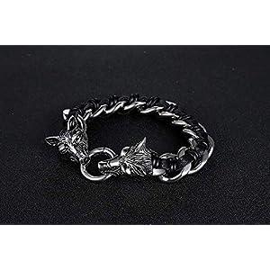 FVNR Bracelets for womensCreative Titanium Steel Jewelry Domineering Wolf Head Bracelet Tide Male Stainless Steel Woven…