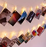Ohbingo 40 LED Photo String Lights - Battery Operated Photo Clips Lights with 2 Modes, Ideal Gift for College Dorm Room Bedroom Christmas Wedding Dorm Decor,Warm White