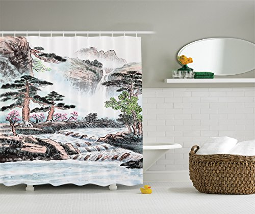 Old Rose Nursery (Ambesonne Pencil Drawing Decor Collection, Mountain and River Painting Effect Pine Trees Floral Design, Polyester Fabric Bathroom Shower Curtain Set with Hooks, 84 Inches Extra Long, Misty Rose Grey)